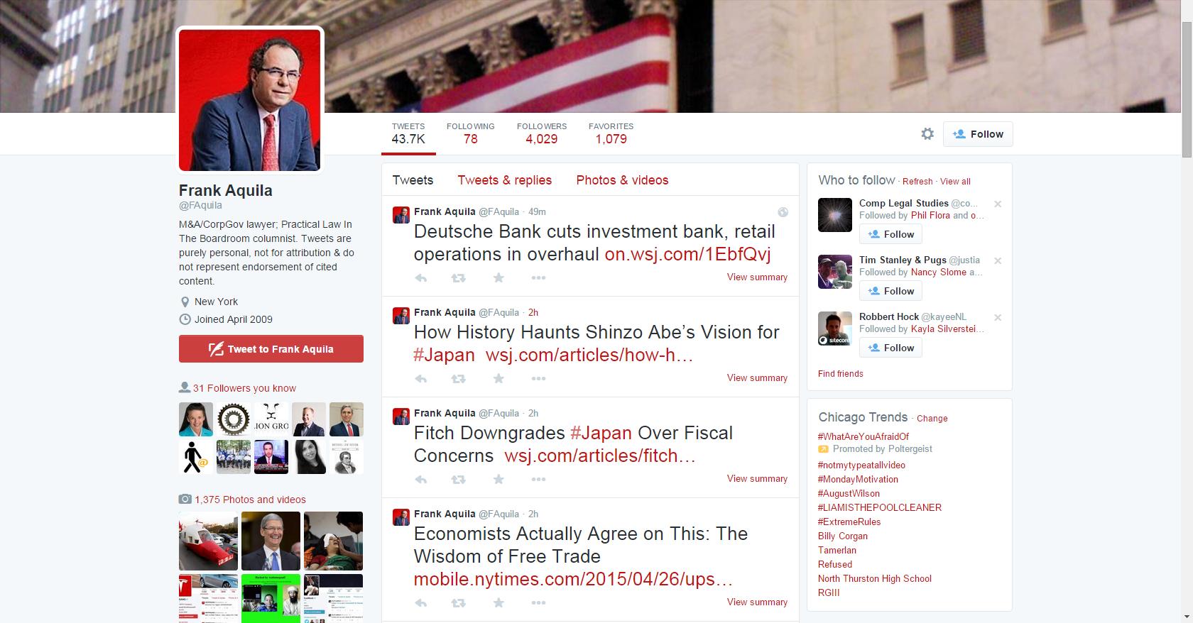 Frank Aquila's Twitter Profile