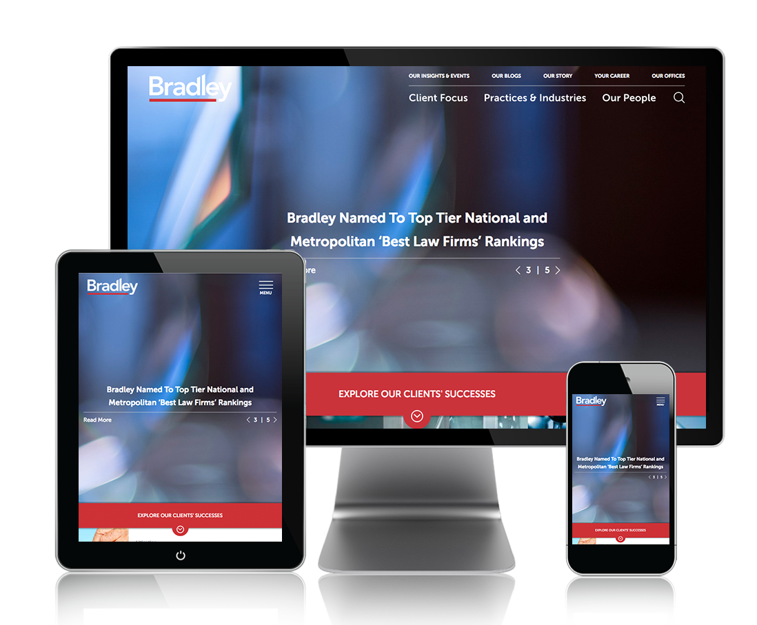 The Bradley website on multiple devices.