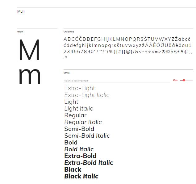 Choosing fonts using Google Fonts