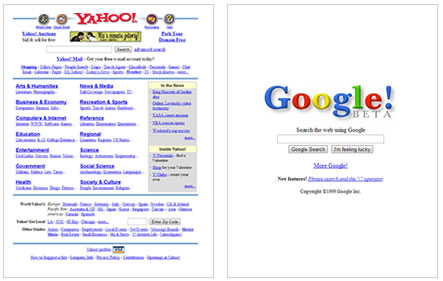 yahoo google comparison from 1999